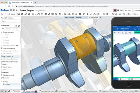 Onshape boxer engine CAD product screenshot