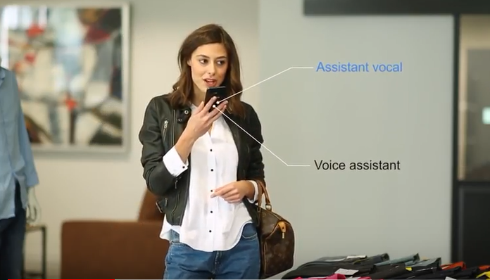 voice assistant - woman talking into phone