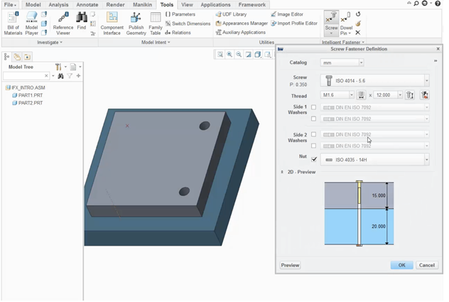 Standard Hardware and Fasteners in PTC Creo-Large