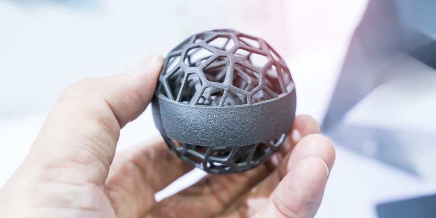 Complex metal part produced with additive manufacturing.