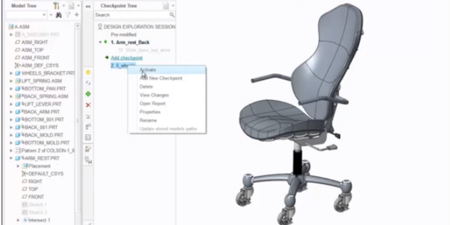 Screen capture of office chair designed using Creo Design Exploration Extension.