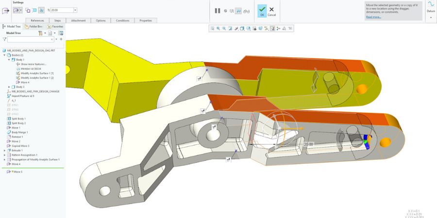Multibody part geometry and model tree in Creo 7.0.