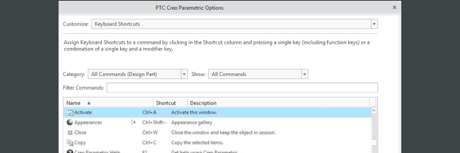 Create your own custom shortcuts with the Options dialog box.