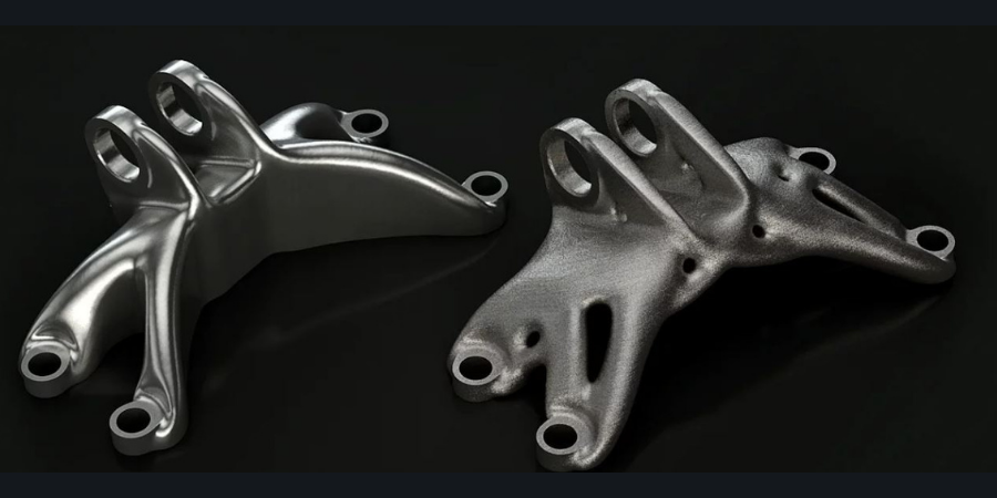 Metal parts created in generative design.