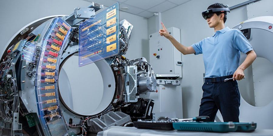 medical device service technician using AR