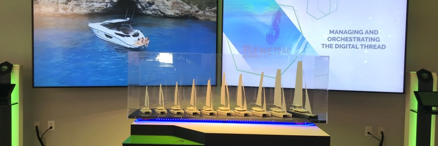 Groupe Beneteau pod at PTC's CXC showcasing the power of Digital Thread-powered PLM.