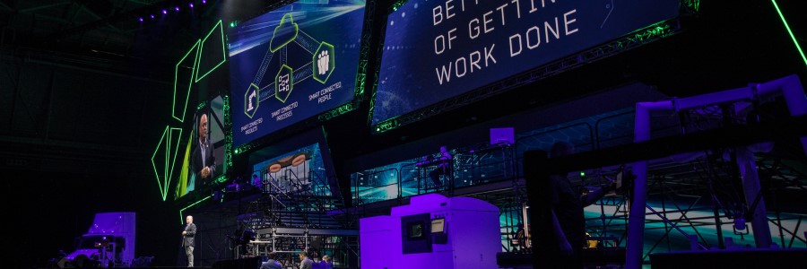 Jim Heppelmann, PTC CEO, puts on a grand stage spectacle for the LiveWorx 2019 keynote address.