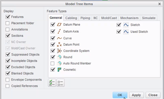 See features and suppressed objects in this Model Tree dialog.