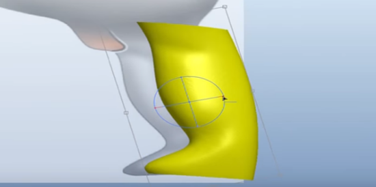 scanned part shown in 3D CAD system