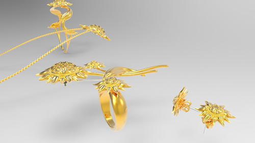 Gold jewelry rendered in Creo CAD software