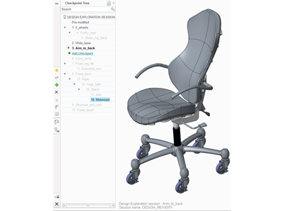 Chair in Creo Design Exploration Extension (DEX)