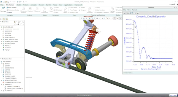 Brake assembly with simulation software outcome shown
