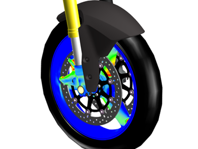 3D model of cycle wheel showing simulation results