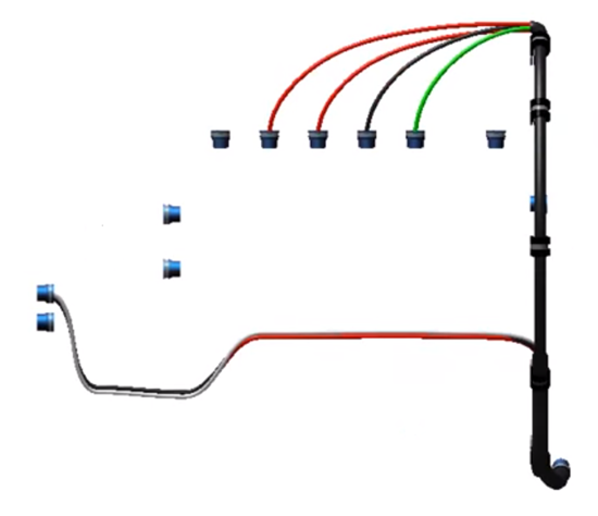 Cabling assembly detail shown in Creo View MCAD, PTC's CAD visualization software.