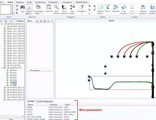 Cabling assembly with parameters, shown in Creo View MCAD, PTC's CAD visualization software.