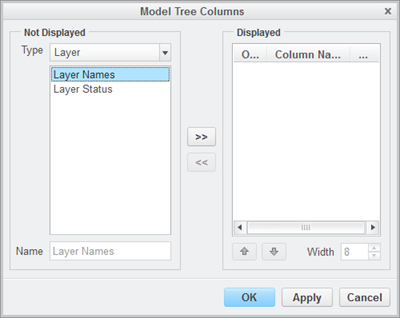 Set layer placement and status in Model Tree Columns dialog box.