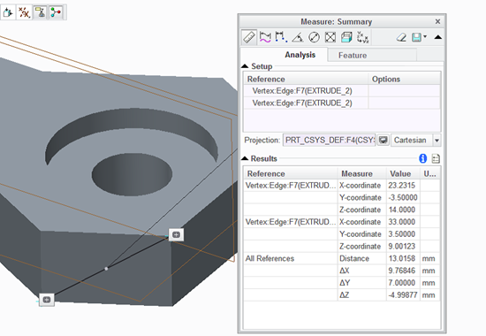While measuring distance between vertices, add a CSYS feature to the Projection collector to see the transform distances.
