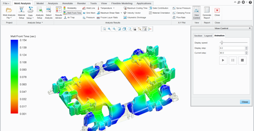 Simulation analysis for a mold.