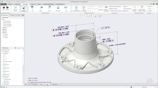 model-based definition shown on CAD part