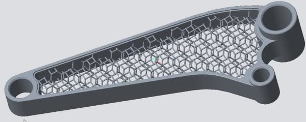 A 3D model of a part held together with lattice structures