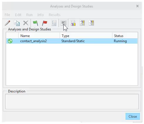 Clicking the icon to display the status dialog, which includes the new convergence plot and other details for the run.
