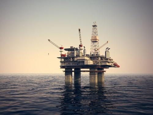 Oil platform on the sea