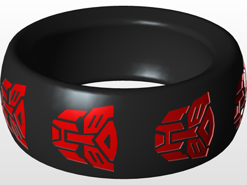 Transformers ring with engraved logo