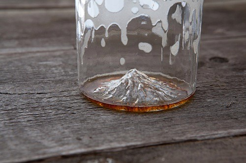 Mt Hood printed on the inside of a beer glass