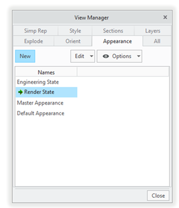 Appearance tab in the View Manager