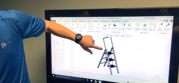 Step stool model in Creo interface