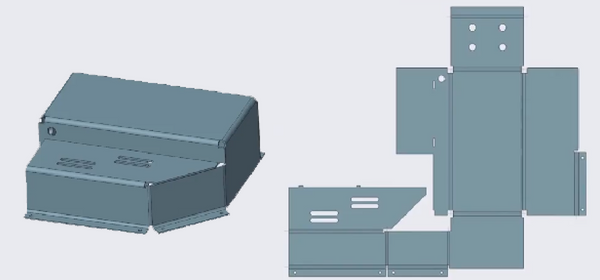 flat and folded models of sheet metal part