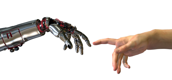 Human hand reaches toward robot hand