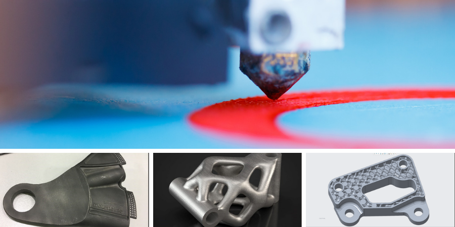 Montage of modeled parts, real-world parts, and additive manufacturing process underway.