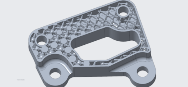 A lattice structure created in Creo for additive manufacturing.