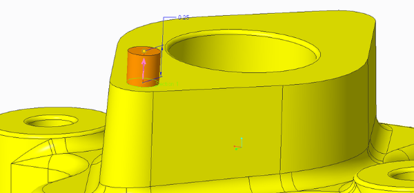 The default depth used in the extrude tool helps simplify navigation while you work.