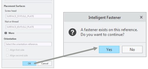 While selecting fastener references, you can check whether a fastener already exists in your database.
