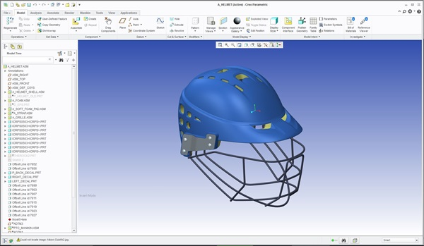 Helmet in the process of being designed in Creo