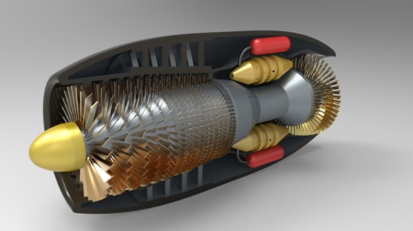 Jet engine rendering designed in Creo