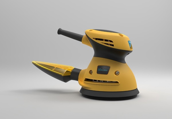 Rendered image of Yao's orbital sander, designed with Creo