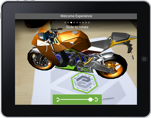 An augmented reality motorcycle hovers over a table