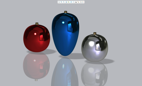 Rendered holiday ornaments