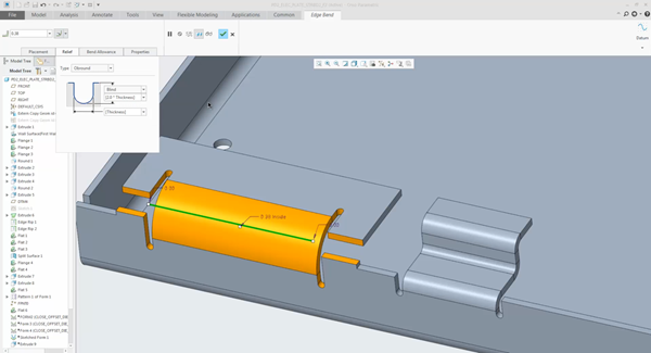 Flexible modeling features can be used in sheet metal