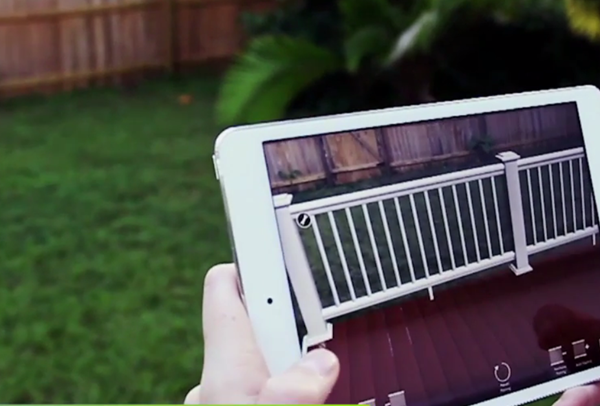 Augmented reality used to help customer visualize a deck before purchasing.