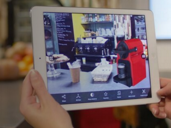 Augmented reality helps a consumer visualize a product in a real-world environment