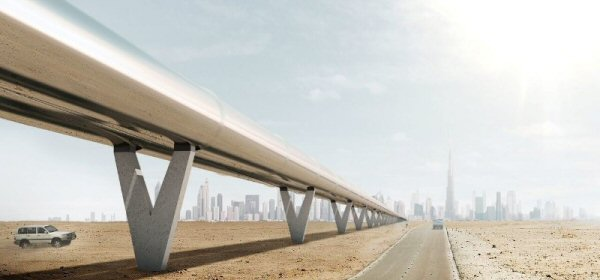 Hyperloop futuristic transportation system using pneumatic-like technology.