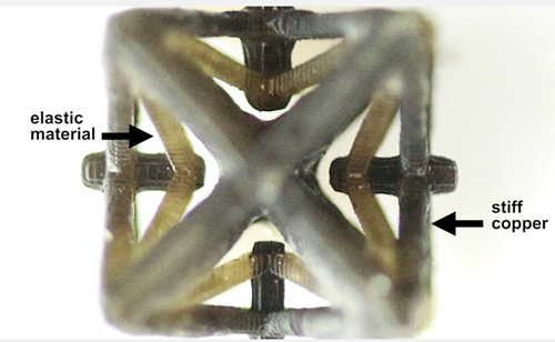 Lattice constructed with micro-3D printer shrinks when heated.