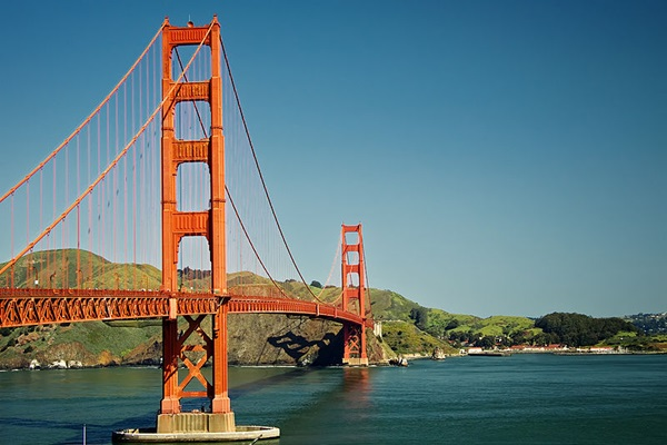 Golden Gate Bridge, an example of a curve represented by a quadratic equation