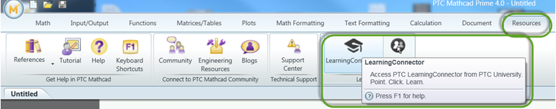 Learning Connector in PTC Mathcad menu