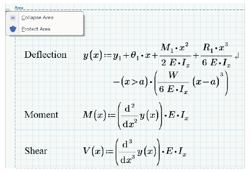 You can secure your equations from being seen or overwritten with Areas and Protection features in PTC Mathcad