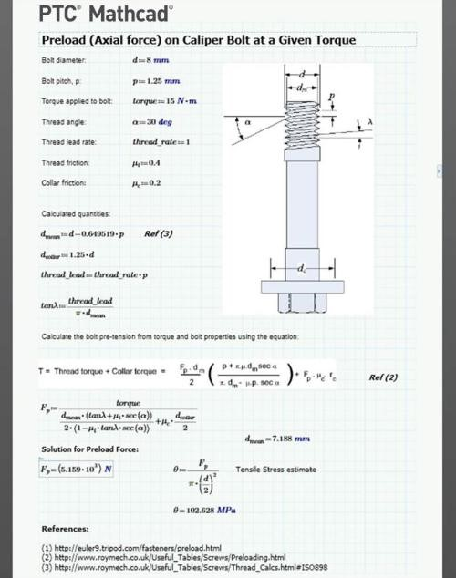 Engineering calculations look like they come from a textbook in PTC Mathcad